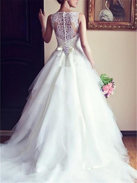 Buttoned Back Bateau Neck Beaded Wedding Dress
