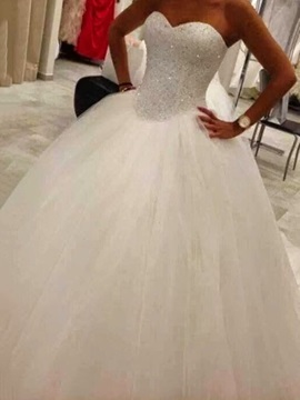 Beaded Bodice Ball Gown Wedding Dress