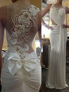 Round Neck Beaded Pearls Sheath Wedding Dress