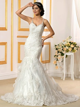 Beaded V-Neck Spaghetti Straps Ruffles Mermaid Wedding Dress & informal Wedding Dresses