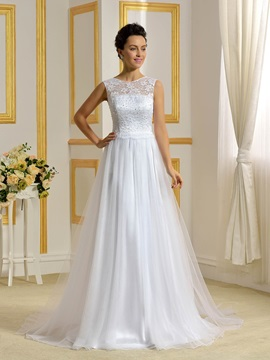 Floor Length A-Line Beaded Lace Top White Wedding Dress & colored Wedding Dresses