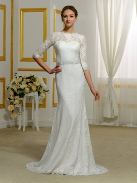 Half Sleeves Sheer Back Lace Sheath Wedding Dress & fairytale Wedding Dresses