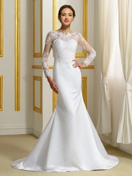 Long Sleeve White Satin Mermaid Wedding Dress & cheap Wedding Dresses