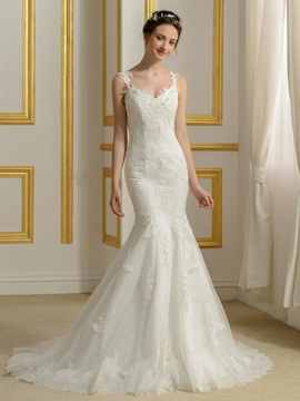 Lace Appliques Spaghetti Straps V-Neck Mermaid Backless Wedding Dress & romantic Wedding Dresses