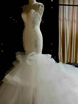 Sheer Neck Beaded Mermaid Wedding Dress & Wedding Dresses under 100
