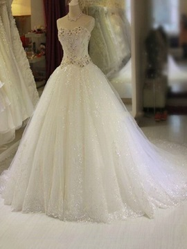 A-Line Strapless Sweetheart Beaded Wedding Dress