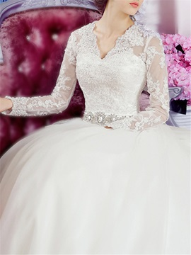Puffy A-Line Beaded Lace V-Neck Long Sleeve Wedding Dress & Wedding Dresses under 100