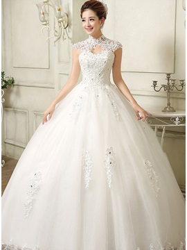 Charming Beaded Lace Open Back Ball Gown Wedding Dress & petite Wedding Dresses