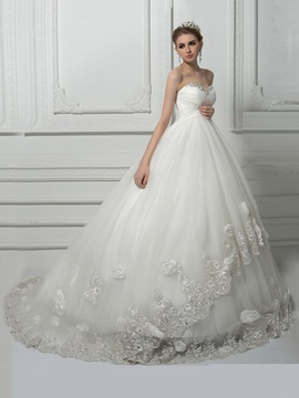 Beaded Flowers Empire Waist Maternity Plus Size Wedding Dress