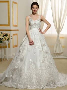 Floor Length A-Line Beaded Scoop Neck Lace Appliques Wedding Dress & informal Wedding Dresses