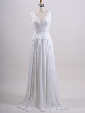 V-Neck Lace Top White Chiffon Long Beach Wedding Dress & Wedding Dresses for sale