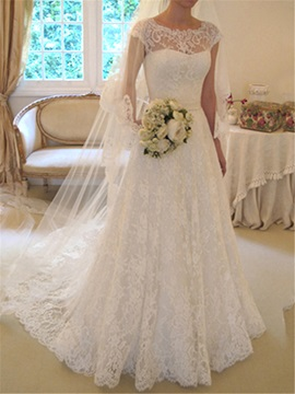 Scoop Neck Short Sleeve A-Line Lace Wedding Dress & Wedding Dresses on sale