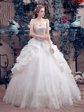 Beaded Sweetheart Pick-ups Princess Ball Gown Wedding Dress & elegant Wedding Dresses