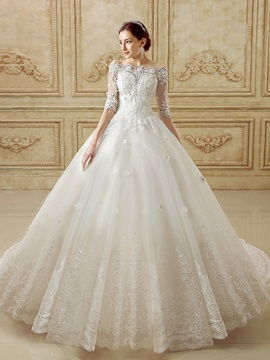 Beaded Lace Half Sleeve Off the Shoulder Chapel Wedding Dress & attractive Wedding Dresses