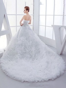 Rhinestone Sequin Beaded Sweetheart Ruffles Tulle Ball Gown Wedding Dress & Wedding Dresses online