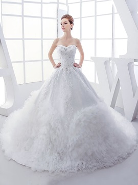 Rhinestone Sequin Beaded Sweetheart Ruffles Tulle Ball Gown Wedding Dress & Wedding Dresses under 100