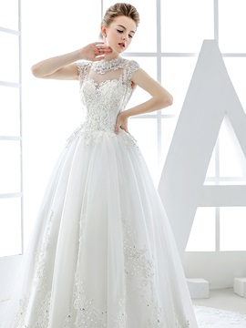 Lace High Neck Sheer Button Back Tulle Wedding Dress & vintage style Wedding Dresses