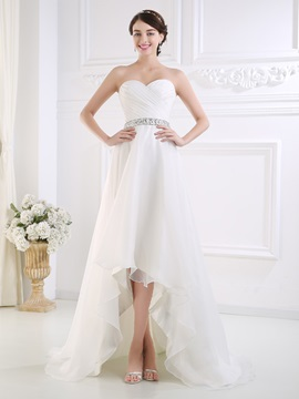 Ruched Sweetheart Beaded Waist High Low Beach Wedding Dress & Wedding Dresses online