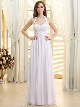 Ruched Beaded Sweetheart Halter White Chiffon Beach Wedding Dress & Wedding Dresses under 100