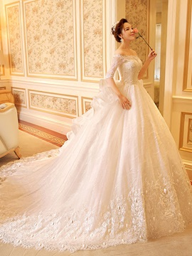 Half Sleeve Sequins Lace Ball Gown Wedding Dress & affordable Wedding Dresses
