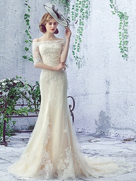 Off the Shoulder Appliques Half Sleeve Mermaid Lace-Up Wedding Dress & Wedding Dresses for less