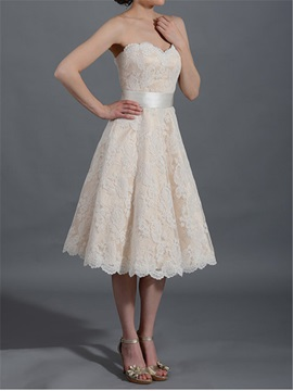 Tea Length A-Line Strapless Lace Wedding Dress & inexpensive Wedding Dresses