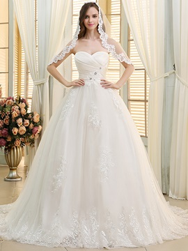 Ruched Sweetheart Lace Appliques Ball Gown Wedding Dress & Wedding Dresses from china
