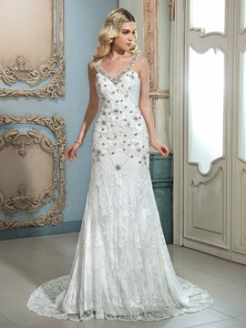 Glamorous V Neck Sleeveless Beaded Lace Mermaid Wedding Dress & Wedding Dresses 2012