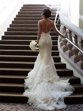 Spaghettis Straps Lace Backless Mermaid Wedding Dress & unique Wedding Dresses