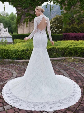 High Quality Lace Long Sleeves Mermaid Wedding Dress & fashion Wedding Dresses