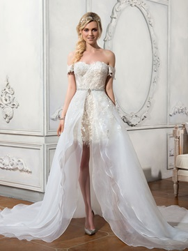 Stylish Off the Shoulder Appliques Asymmetry Watteau Train Wedding Dress & Wedding Dresses for less