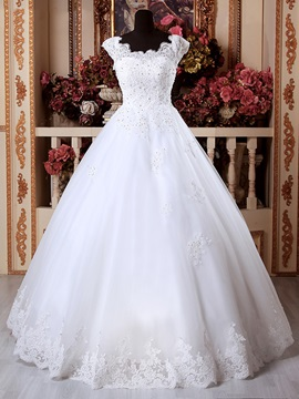 Scoop Appliques Beading Floor Length Ball Gown Wedding Dress & Wedding Dresses for sale