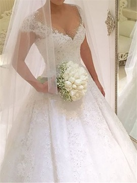 Charming V-Neck Cap Sleeves Beading Appliques Wedding Dress