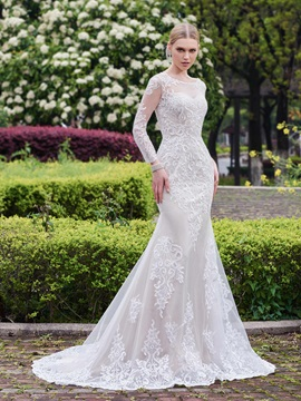 Spectacular Appliques Mermaid Wedding Dress with Long Sleeves & Wedding Dresses for less
