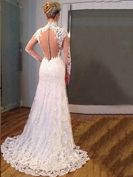 Amazing V Neck Sheer Back Appliques Mermaid Wedding Dress & affordable Wedding Dresses