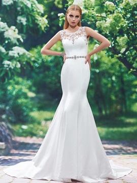 Stylish Scoop Neck Appliques Beaded Mermaid Wedding Dress & Wedding Dresses under 100