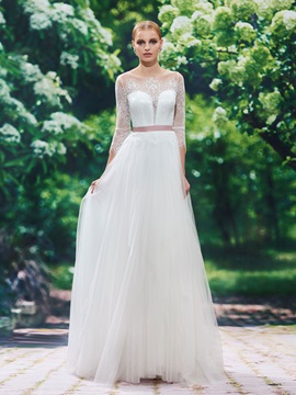 Elegant Scoop Neck Lace A Line Wedding Dress With Sleeves & attractive Wedding Dresses