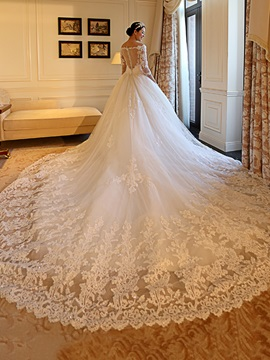 Sequins Appliques Off the Shoulder Wedding Dress with Sleeves