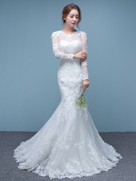 Beautiful Illusion Neckline Mermaid Long Sleeves Wedding Dress & inexpensive Wedding Dresses
