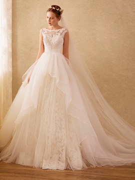 High Quality Bateau Appliques Beaded Ball Gown Lace Wedding Dress & elegant Wedding Dresses
