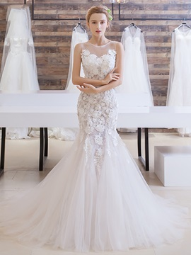 Charming Lace Flower Court Train Mermaid Wedding Dress & Wedding Dresses from china