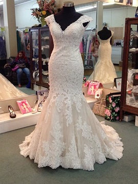 Glamorous V Neck Mermaid Appliques Wedding Dress & Wedding Dresses online
