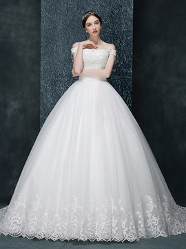 Off The Shoulder Ball Gown Appliques Beaded Wedding Dress & Wedding Dresses for sale