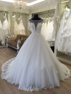Spectacular Illusion Neck Appliques Ball Gown Cap Sleeves Wedding Dress & vintage style Wedding Dresses