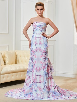 Attractive Strapless Ruffles Printing Wedding Dress