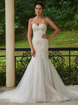Beautiful Sweetheart Zipper-Up Appliques Mermaid Wedding Dress & elegant Wedding Dresses