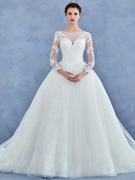 Exquisite Long Sleeves Appliques Ball Gown Cathedral Train Wedding Dress & simple Wedding Dresses
