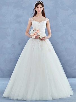 Charming V Neck Cap Sleeves Appliques A Line Wedding Dress & Wedding Dresses from china