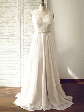 Simple V Neck Lace A Line Wedding Dress & discount Wedding Dresses