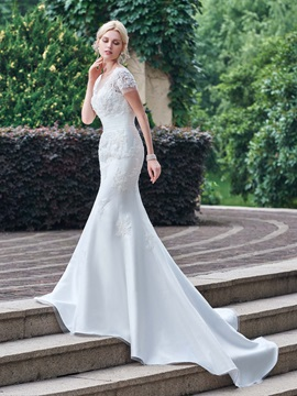 Superior Sheer Neck Appliques Mermaid Wedding Dress with Short Sleeves & colored Wedding Dresses